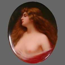 Hutschenreuther porcelain semi nude woman portrait plaque after Anthony Asti