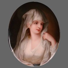 German porcelain portrait plaque woman wearing veil