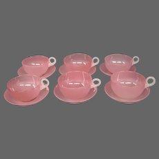 Stevens and Williams rosaline alabaster demitasse cups saucers