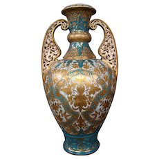Royal Crown Derby Alhambra turquoise raised gold vase reticulated handles 1885