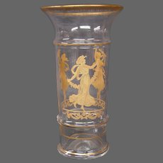 Sevres French crystal gold encrusted dancing maidens women vase signed