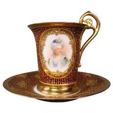 Dresden Donath porcelain double portrait raised gold chocolate cup saucer Empire style handle