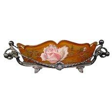 Harrach Bohemian enameled art glass roses brides bowl silverplate frame