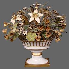 Jane Hutcheson enameled floral arrangement flowers porcelain reticulated vase large