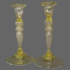 Steuben yellow art glass pair candlesticks form 2956 Frederick Carder