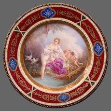 Vienna Austria hand painted beehive portrait plate Venus in Bade