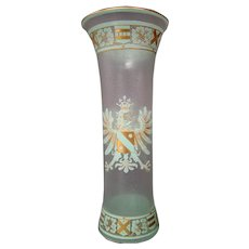 French cameo glass huge opaline eagle crest shields vase