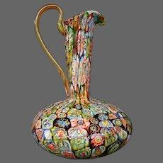Venetian Murano Italian art glass large ewer handled pitcher