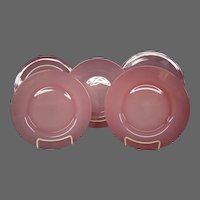 Steuben rosaline set of art glass plates Frederick Carder era