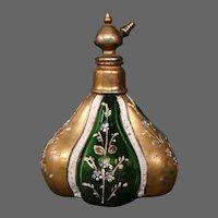 Bohemian art glass enameled lobed perfume bottle