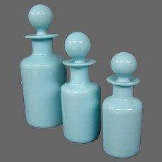 Portieux Vallerysthal blue opaline dresser set three perfume cologne bottles