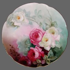 Large hand painted roses porcelain charger plate artist signed