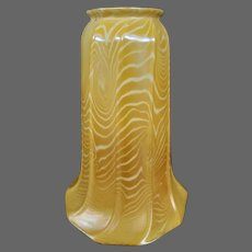 Quezal art glass king tut coil pattern gold iridescent lamp shade signed