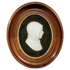 Antique alabaster carved bust of man plaque walnut frame
