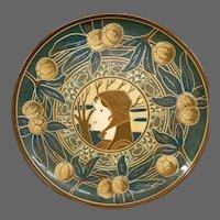 Art nouveau pottery large female portrait charger