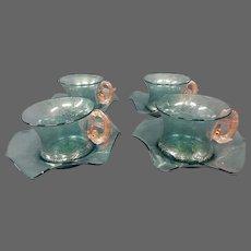 Murano Venetian Italian art glass dolphin handle demitasse cups saucers