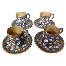 Japanese cloisonne floral demitasse cups saucers