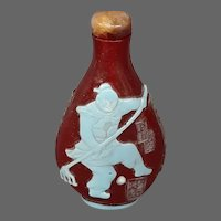 Peking cameo glass ruby periwinkle blue snuff bottle figures marked