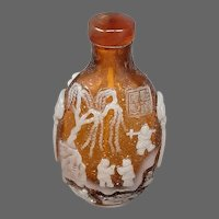 Peking cameo glass amber white figures trees boat snuff bottle