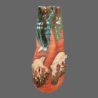 Sumida Gawa Japanese art pottery vase elephants signed