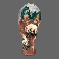Sumida Gawa Japanese art pottery vase mountain lions big cats