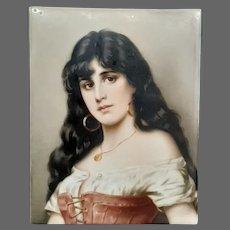 German hand painted porcelain portrait plaque woman long flowing hair