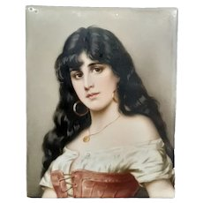 German hand painted porcelain portrait plaque woman long flowing hair
