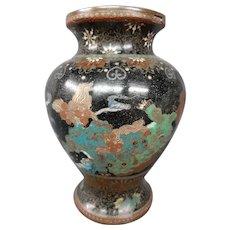 Antique Japanese cloisonne vase foo dogs clouds