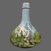 French Haviland Limoges faience art pottery vase dog in field