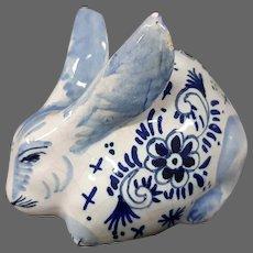 Delft pottery rabbit figurine figure signed