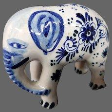 Delft pottery elephant figurine figure signed