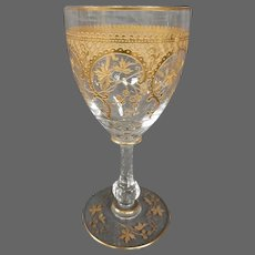 St Louis French crystal gilded art nouveau single wine goblet