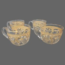 St Louis French crystal gilded art nouveau set four punch cups