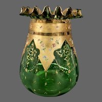 Moser enameled floral art glass vase ruffled top