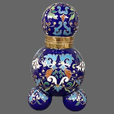 Antique French porcelain enameled inkwell Islamic influence