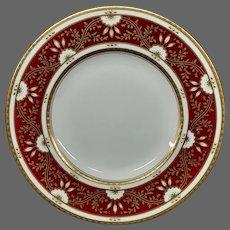 Minton for Tiffany bone china maroon gold plate X1091