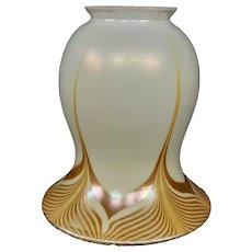 Steuben gold aurene white decorated art glass shade