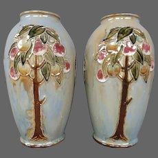 Royal Doulton art pottery pair apple tree vases artist signed