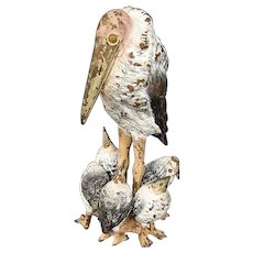 Austrian cold painted bronze stork mother and children sculpture
