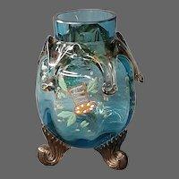 Bohemian enameled art glass vase applied drippings scroll feet