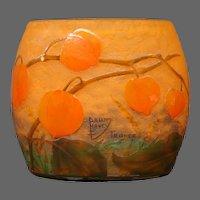 Daum Nancy French cameo glass rare Chinese lantern pillow vase