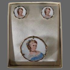 Limoges porcelain woman portrait matching brooch earrings original box