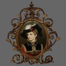German hand painted porcelain plaque noble woman portrait