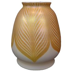 Steuben white gold pulled feather art glass shade