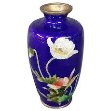 Antique Japanese ginbari cloisonne deep cobalt blue floral vase
