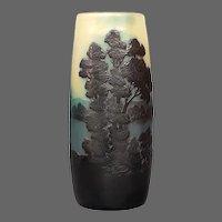 Emile Galle French cameo glass landscape scenic vase