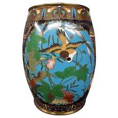 Antique Japanese cloisonne vase birds flowers shells