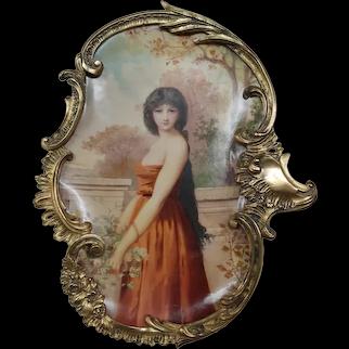 Antique French enamel portrait woman shadowbox frame