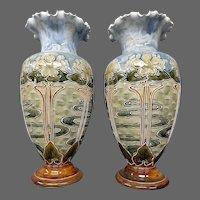 Royal Doulton Lambeth art pottery pair art nouveau floral vases