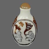 Peking cameo glass brown white figures fishscale snuff bottle